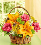 Fresh Fields of Europe Round Basket Arrangement
