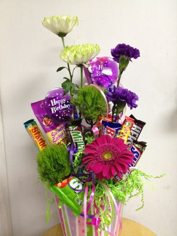 Fresh Flower Candy Bouquet Fresh flowers- mixed candy