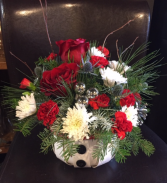 fresh Flowers Snowman basket