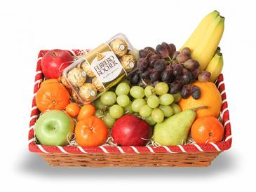 FRESH FRUIT & CHOCOLATES BASKET