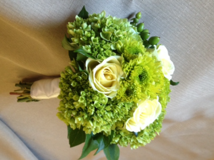 fresh green and white hand tied cluster hand tied cluster for dance/prom