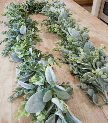 Fresh Greenery Backdrop or Table Runner  Eucalyptus and other mix of fresh greens