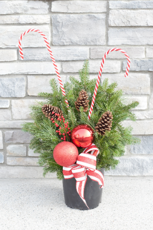 Fresh Holiday Porch Pot   in Port Huron, MI | CHRISTOPHER'S FLOWERS
