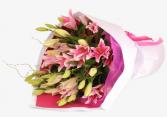 Fresh Market Oriental Pink Lily  Hand tied bouquet
