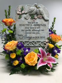 Fresh Memorial With Stone Sympathy