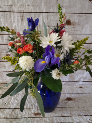 Fresh mix cobalt vase in Caldwell, ID | Bayberries Flowers & Gifts