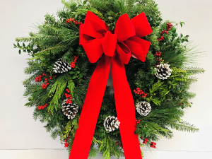 Fresh Mixed Greens Wreath - Red  in Fitchburg, MA | CAULEY'S FLORIST & GARDEN CENTER