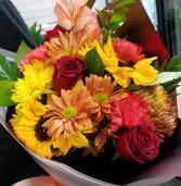 Fresh Seasonal Flowers  Mixed Hand Bouquet