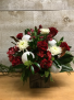 Festive Cheer  floral arrangement in a  wooden container