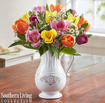 Fresh Spring Tulip Pitcher by Southern Living™ Arrangement