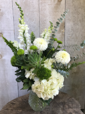 Fresh White and Green Vase Arrangement