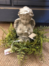 Friend resin angel with wreath