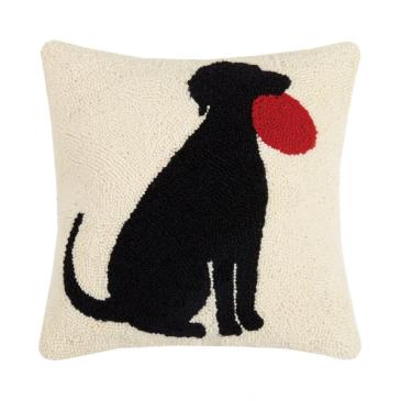 Frisbee Dog Throw Pillow