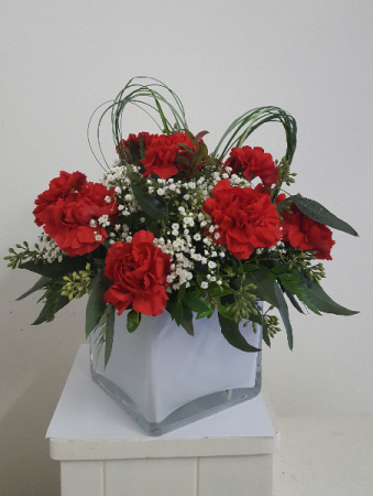 From My Heart Valentine  glass cube flower arrangement