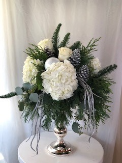 Frosted Garden  Candlestick Arrangement