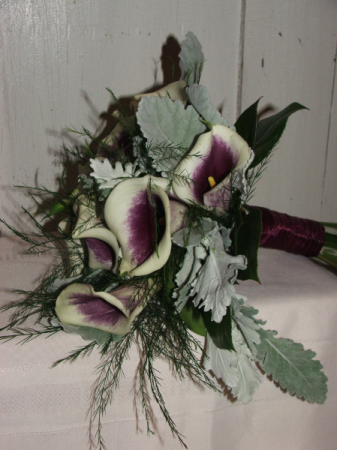 Frosted Purple Callas Handheld Bouquet