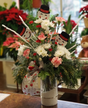 Frosty and Friends Snow filled Vase Arrangement