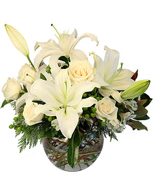 Frosty Blooms Flower Arrangement in Yoakum, TX | KARL'S FLOWERS & GIFT SHOP