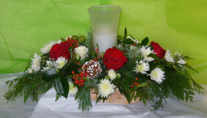 FROSTY ELEGANCE Fresh Christmas Arrangement in Parksville, BC | BLOSSOMS 'N SUCH