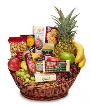 Fruit and Gourmet Basket $85.95, $100.95, $125.95 in Universal City, TX   BLOOMINGTONS FLOWER SHOP