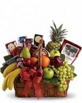 Fruit and Gourmet Basket Christmas Arrangement