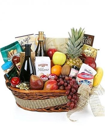 Fruit & Wine Basket Gourmet Gift Basket