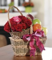 Fruits & Flowers Basket Gift Basket
