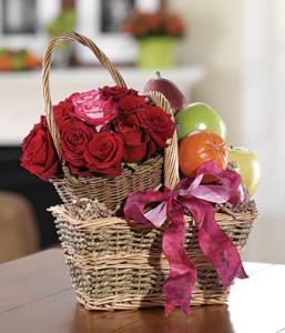 Fruits & Flowers Basket Gift Basket in Burbank, CA | MY BELLA FLOWER