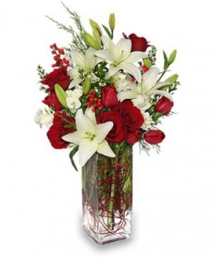 ALL IS MERRY & BRIGHT Deluxe Christmas Arrangement in Rock Hill, SC | Ribald Events - Florals, Rentals, & Event Planning