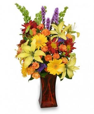 Canyon Sunset Arrangement in Barnesville, OH | THE FLOWER GARDENS