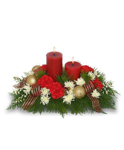 Christmas by candlelight centerpiece flower