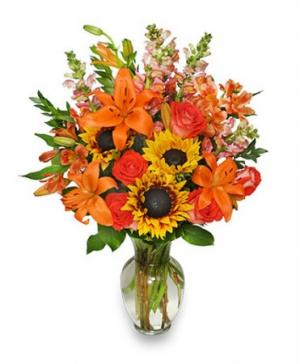 Fall Flower Gala Arrangement in River Edge, NJ | Cestino Doro-Carmine's Teahouse Cafe
