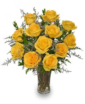 Lemon Drop Roses Dozen Bouquet in Hernando, MS | DOROTHY K'S FLOWERS & MORE