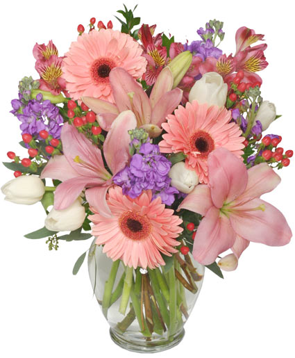Pastel palette arrangement vase arrangements flower for Pastel colored flower arrangements
