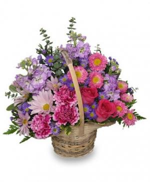 Sweetly Spring Basket Flower Arrangement in Cheney, KS | Cleo's Flower Shop