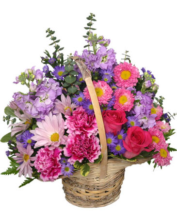 Sweetly spring basket flower arrangement in mcleansboro il adams sweetly spring basket flower arrangement mightylinksfo