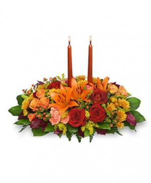 Thanksgiving Feast Centerpiece in Oakland, ME | VISIONS FLOWERS & BRIDAL DESIGNS
