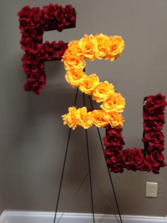 """FSU Sympathy Stand Silk Flowers """"FSU"""" letters on a stand"""