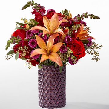 FTD Autumn Harvest in purple honeycomb vase