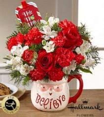 FTD Believe Mug Bouquet by Hallmark Vased Fresh Flowers