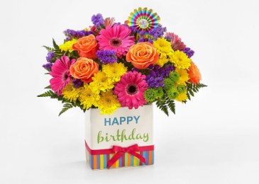 FTD Birthday Brights Bouquet Vase Arrangement