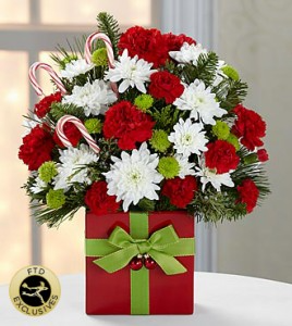 FTD CHRISTMAS PRESENT RED AND WHITE FLOWERS