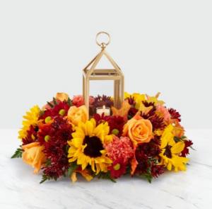 FTD Giving Thanks Lantern™Centerpiece Fresh Flower Centerpiece  in Auburn, AL | AUBURN FLOWERS & GIFTS