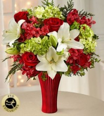 Celebrate Valentine's Day  Red &white vase arrangement