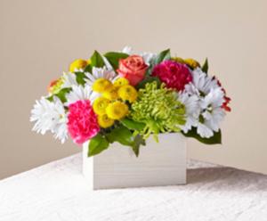 FTD's Sorbet Bouquet  Fresh arrangement in wooden box in Auburndale, FL | The House of Flowers