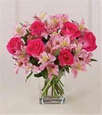 Fuchsia Rose Bouquet Half Dozen Fuchsia Roses with pink accents