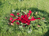 Full  Blanket with Bow and Flowers Cemetery Decoration