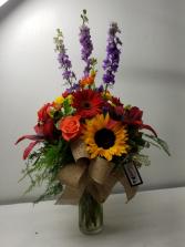Bright Birthday Colorsl Flower Arrangement