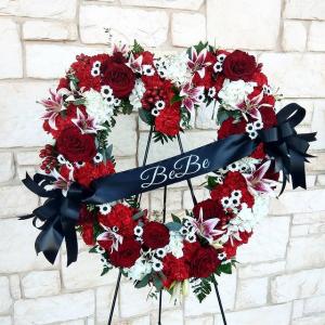 Full of Love Memorial Wreath with Custom Ribbon in Burleson, TX | Texas Floral Design Inc