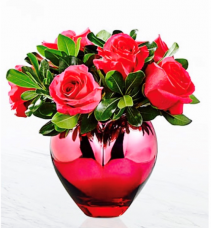 Full of Love roses with greens in a heart vase